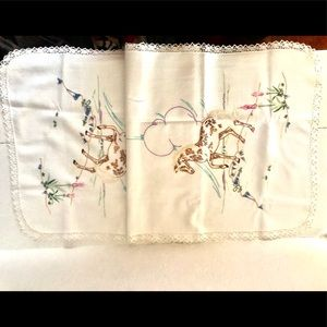 Vintage Hand-Embroidered Table Runner with Horses